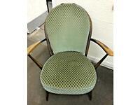 Vintage Ercol Fleur de Lys Low Armchair With Original Seat Cushions. VGC.