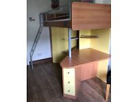 Single bed high sleeper with built in desk, wardrobe shelves drawers