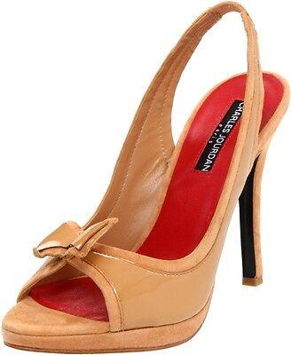 Charles Jourdan EISEL NUDE Slingback Patent Leather Suede Pump Sandals Peep-toe