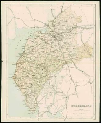 1868 - Original Colour Antique MAP of CUMBERLAND by W Hughes (FC54)