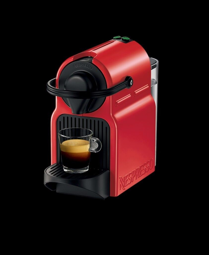 Nespresso Inissia Coffee Capsule Machine, Ruby Red by Krups + Pod Holder Stand