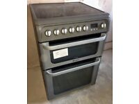 Hotpoint HUE61GS Electric Double Oven Cooker in Graphite Freestanding