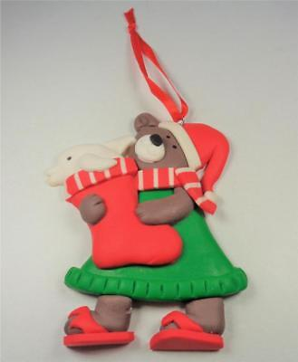 NAUTICAL CHRISTMAS BEAR WITH DOLPHIN IN STOCKING CHRISTMAS TREE HOLIDAY - Nautical Christmas Stockings