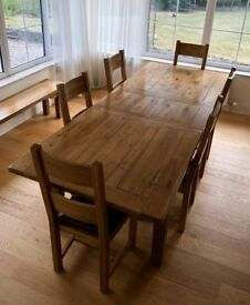 Solid Oak 6.9 x 3.3ft Extendable Table - With 6 Chairs - Very High Quality