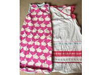 Two Baby Girls Summer Sleeping Bags by Grobag, size 6-18mths, 1 tog