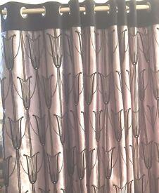 1 pair of curtains Dunelm, silver/black