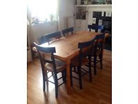Pine Dining table and set of six chairs