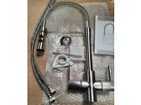 New Oceanus Brushed Steel Spray Mixer Tap TA WRN 074 Made In Italy