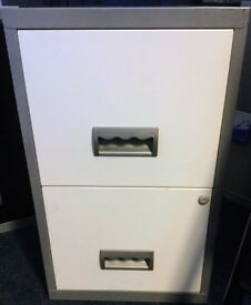 Grey and White Metal Filing Cabinet 2 Drawers ( 1 Lockable) Home Office or Study
