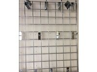 """Two 40""""x 20"""" wall racking & 60 hanging hooks plus two paper stands ..one 12x12 the other A4"""