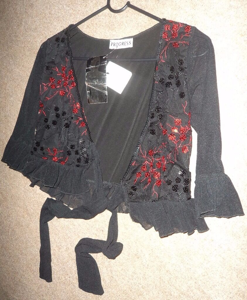 Women's/ladies black summer cardigan/blouse with tie up fastening at the front