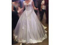 Silk Wedding dress with lace with Swarovski beads and a tail