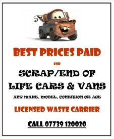 Top prices paid for scrap cars