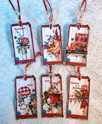 Set of 6 Hang Tags~Country Summertime Picnic~Gift - Country Gift Tags