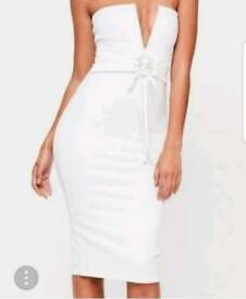 White Corset Style Bandeau Midi Dress