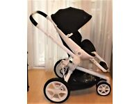 QUINNY MOODD , PRAM PUSHCHAIR , IN WHITE WITH BLACK FABRICS , GWO AND IS CLEAN , + MOODD RAINCOVER