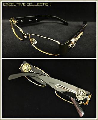 Men Classy Exotic Elegant Retro Style Clear EYE GLASSES Gold Black Fashion Frame