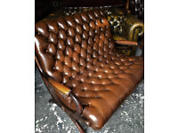 Brown leather 2 seater slipper style Chesterfield sofa
