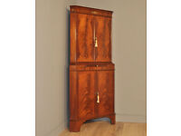 Attractive Tall Vintage Flame Mahogany Corner Cocktail Cabinet, Base Cupboard