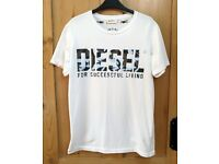Diesel Mens Short Sleeve Crew Neck Logo T-Shirt Darr - Medium - White
