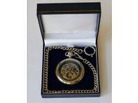 Jacques du Manoir 'Skeleton' pocket watch. Swiss made, jewelled movement.