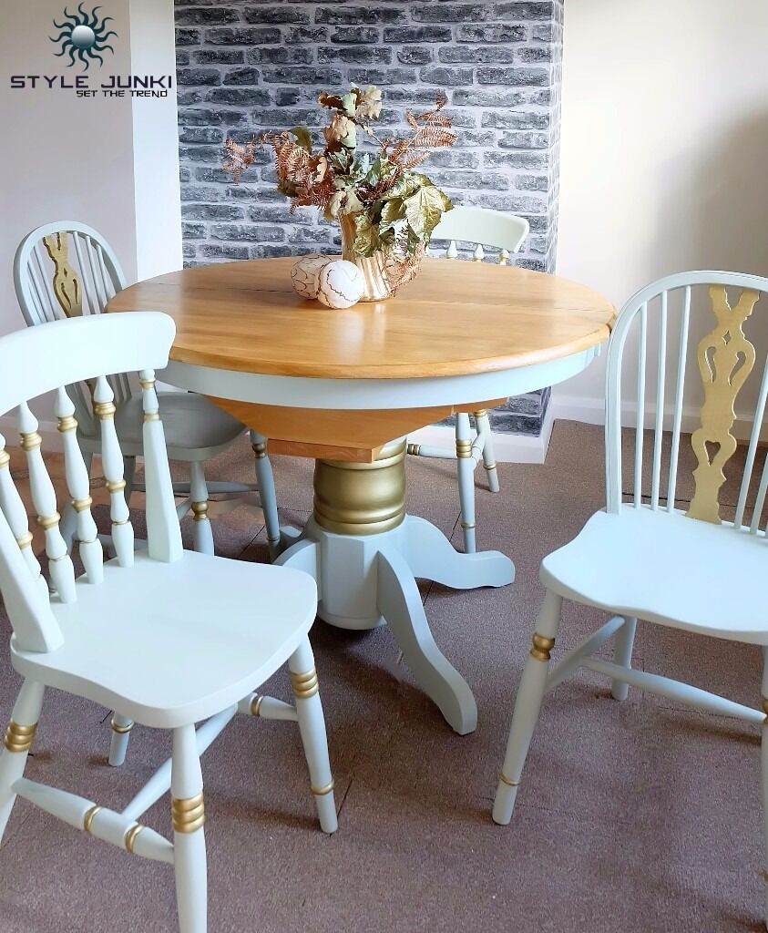 Dining Table Chairs Shabby Chic Gold Solid Kitchen Conservatory