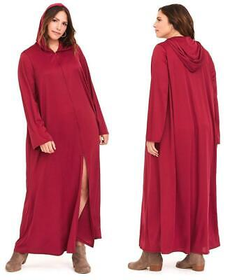 1X/2X Torrid Long Burgundy Red Slit Maxi Hooded - Red X Cosplay Kostüm