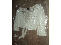 Women's/ladies white summer cardigan/blouse with tie up fastening at the front