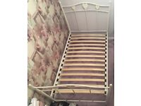 Next white metal bed frame with love hearts