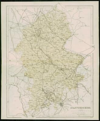 1868 - Original Colour Antique Map of STAFFORDSHIRE by W Hughes (FC28)