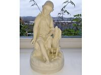 ANTIQUE Parian Ware Figure Girl with Dog Innocence Protected by Fidelity after Benzoni