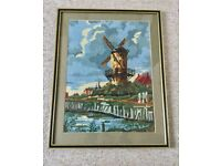 VINTAGE DUTCH WINDMILL SAMPLER NEEDLEPOINT, 1970s, FRAMED, HOLLAND WALL DISPLAY PICTURE PAINTING