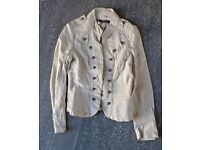 Jane Norman soft leather cream jacket