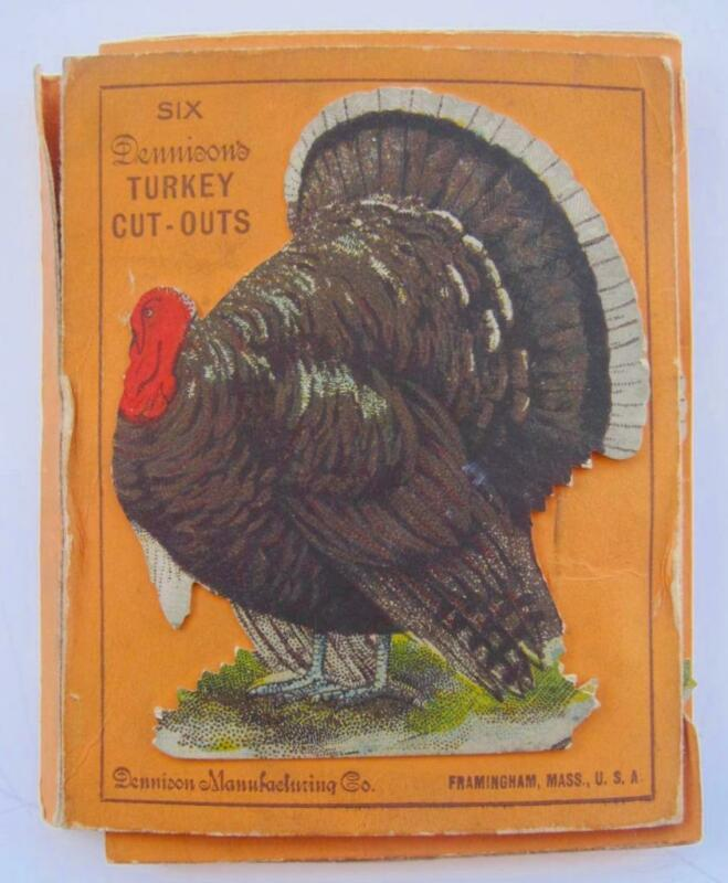 "Vintage 6 Dennsion Turkey Cut Outs Die cuts Box Thanksgiving 3.5"" x 3 Unused"
