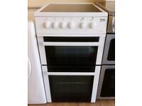 BEKO - White, 50cm, Ceramic Top, Fan Assis ELECTRIC COOKER + 3 Month Guarantee + FREE LOCAL DELIVERY