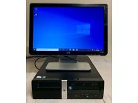 HP Small Tower Form Computer Desktop PC & 19 LCD Widescreen Built In Speakers