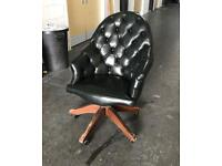 Green leather Chesterfield captains directors chair Can deliver