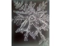Original Art Snow Crystal 5 White Pastel on Paper Self Representing Artist