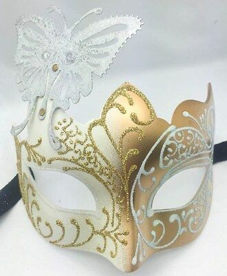 Weiß/Gold Glitzer Schmetterling Damen Party Maske Masquerade Halloween ()