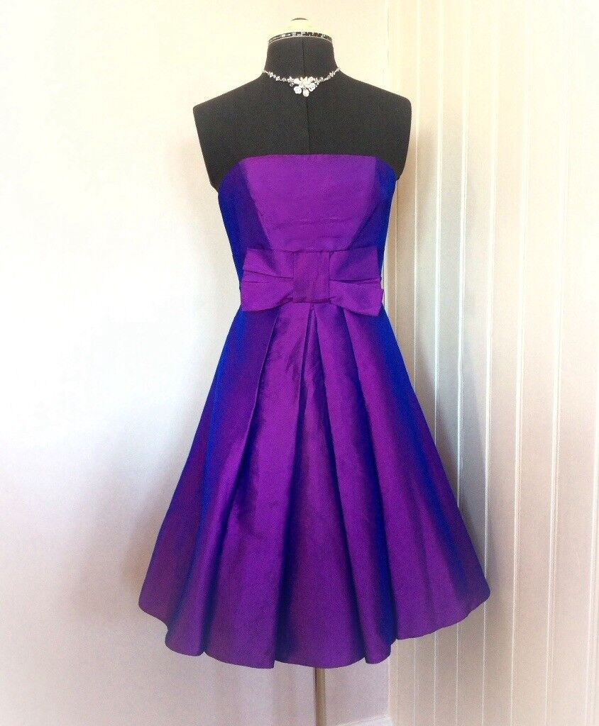 Purple Strapless Short Prom Party 1950s Bridesmaid Dress Wedding ...