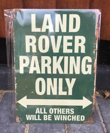 Land Rover Only Parking Sign in Green, Brand New, £5