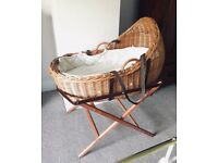 Natural Wicker Cocoon Moses Basket & Mattress