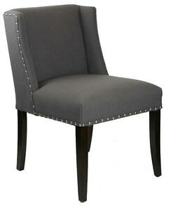 Charcoal Grey Fabric Wing Back Low Dining Chair W Silver Nail Head