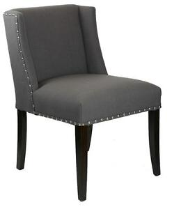 Charcoal Grey Fabric Wing Back Low Dining Chair w/Silver Nail Head