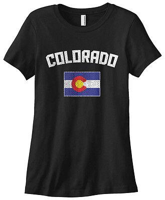 Threadrock Womens Colorado Coloradan Flag T Shirt State Denver