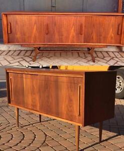 REFINISHEDMid Century Modern Walnut Buffets Sideboards Media TV Consoles Scandinavian