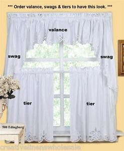 White Battenburg Lace Kitchen Curtain Valance Tier Swag