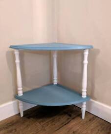 Handpainted Blue and White Corner Table with Shelf
