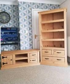 Soild wood tv unit and bookshelf