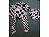 Girls spotty cow PJs, supersoft, Age 12-13 years